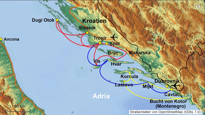 Karte Segelkreuzfahrt Adria