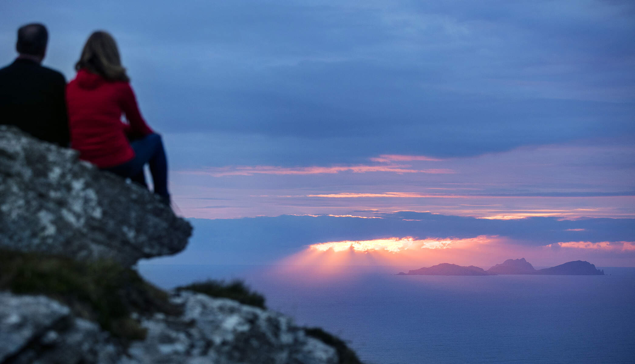 View of the Blasket Islands sunset, Dingle Peninsula,