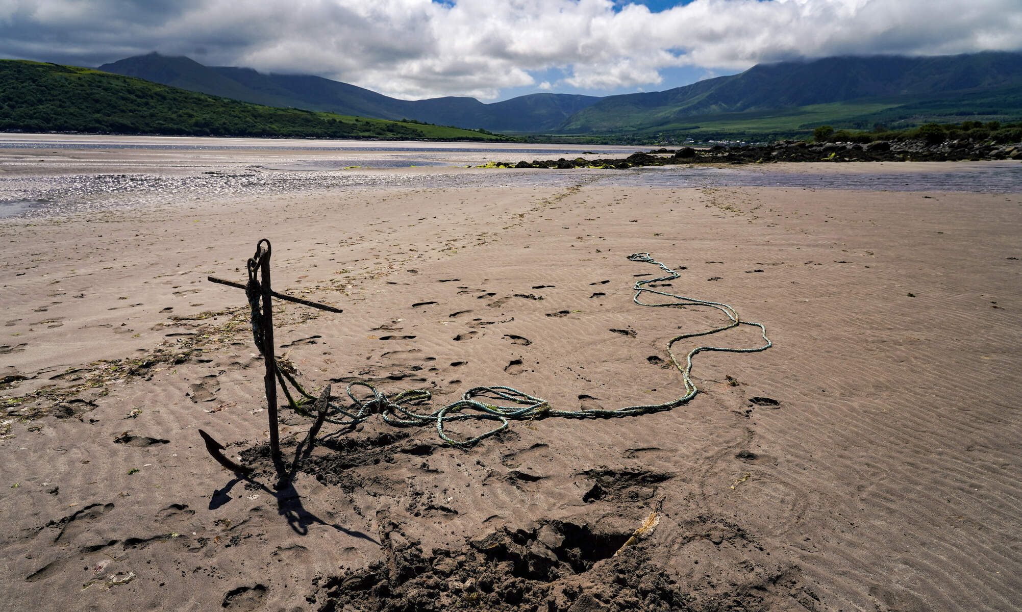 Anchor at low tide on Cappagh Beach, Cloghane